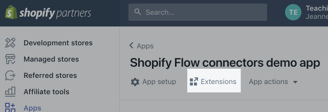 Shopify Flow listed under Extensions