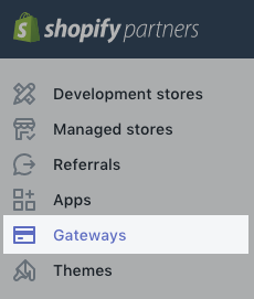 Gateways option in the Partner Dashboard sidebar