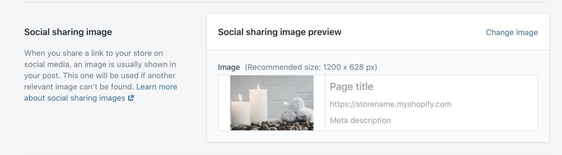 Admin settings showing a preview of an image shared on social media