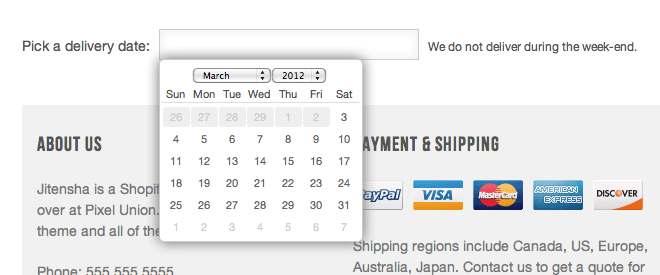 Delivery date picker